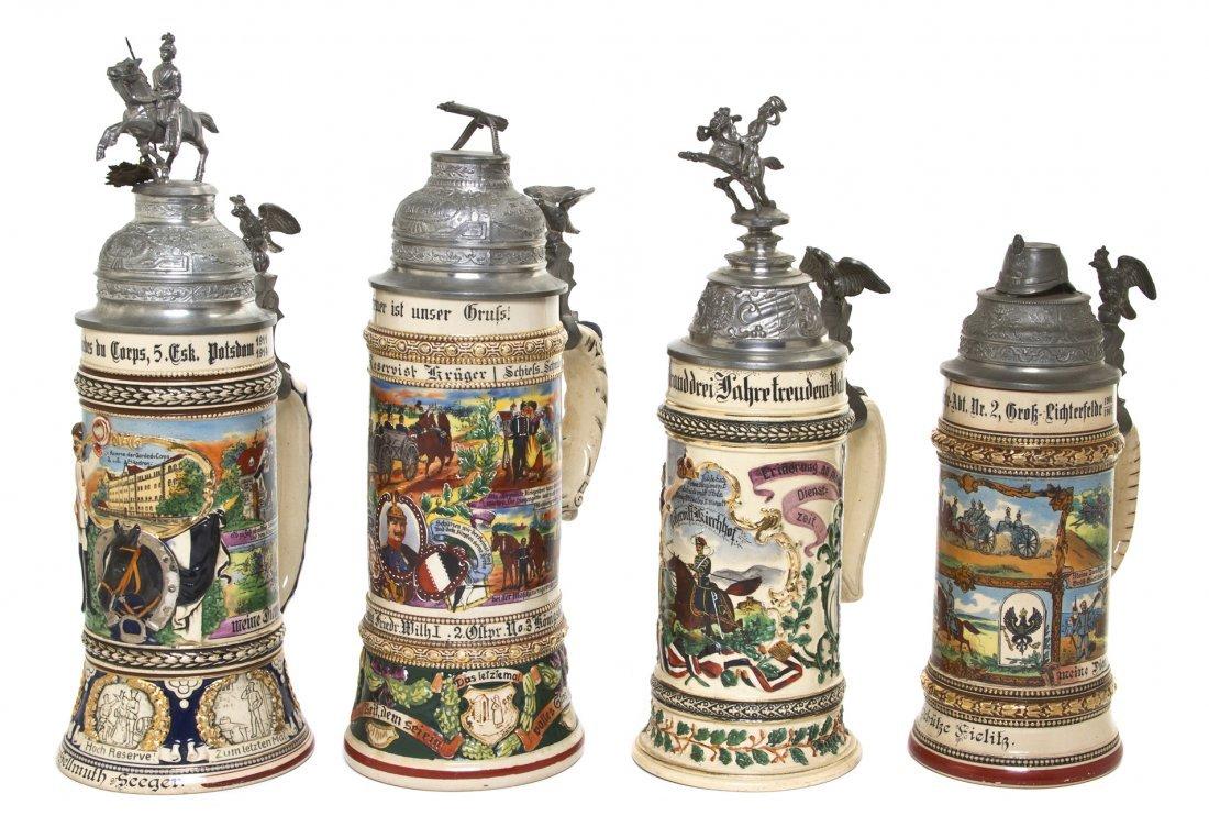 1092: Four German Regimental Pottery Steins, Height of