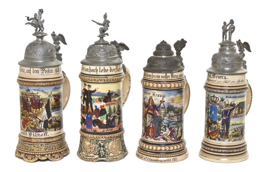 1093: Four German Regimental Pottery Steins, Merkelbach