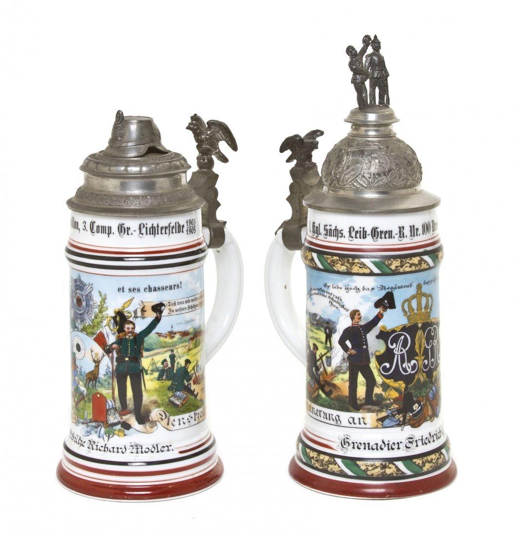 1094: Two German Regimental Porcelain Steins, Height of