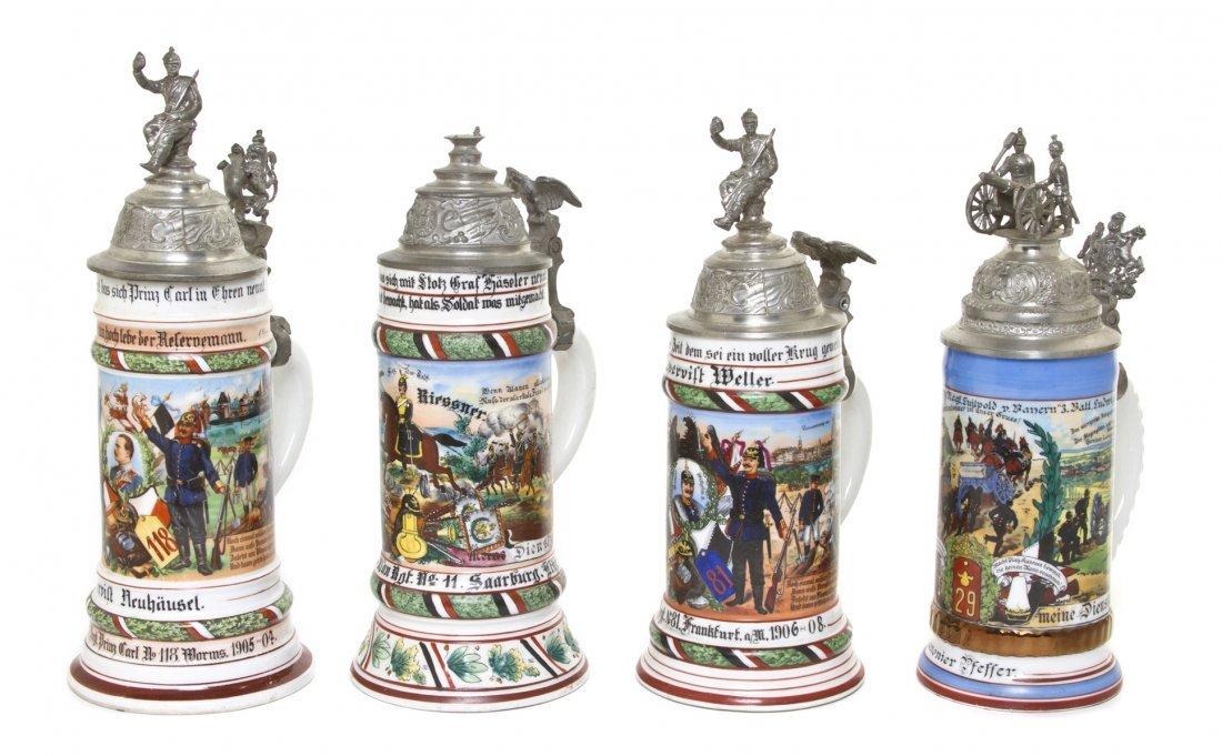 1095: Four German Regimental Porcelain Steins, Height o