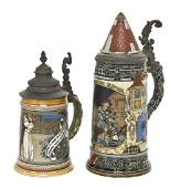 1102 Two German Pottery Steins Villeroy  Boch Mettl