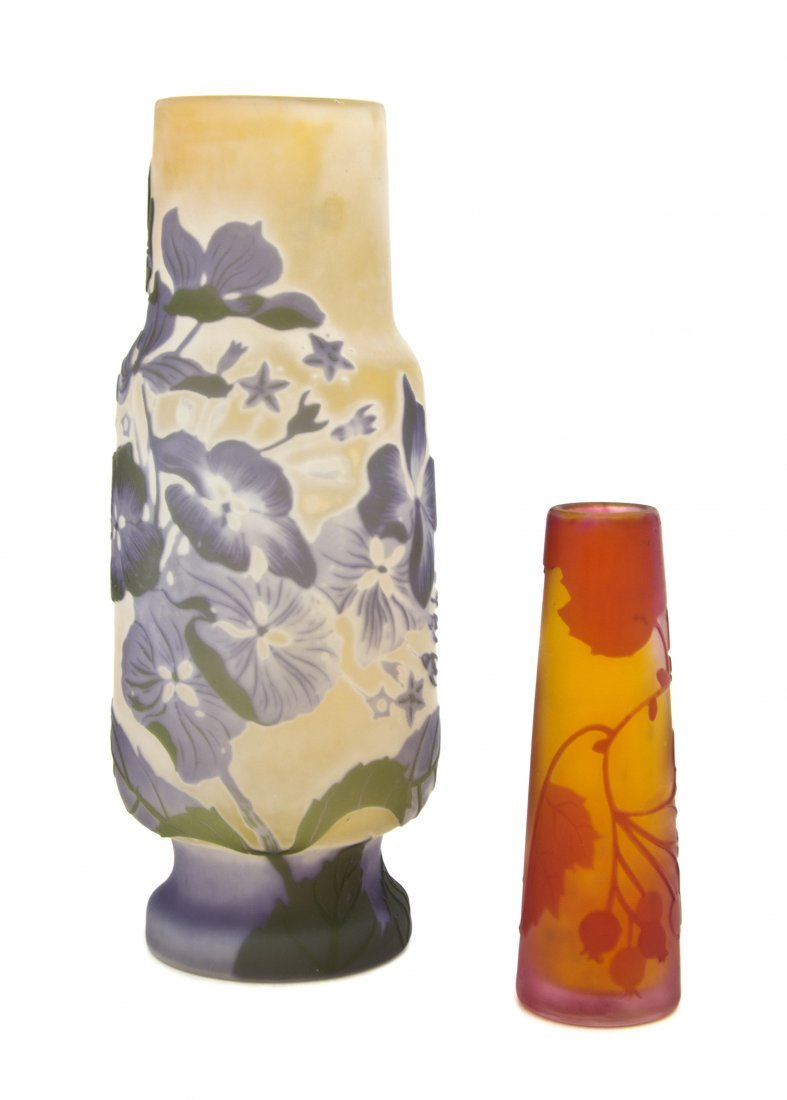 1378: A Galle Cameo Glass Vase, Height of first 7 1/2 i