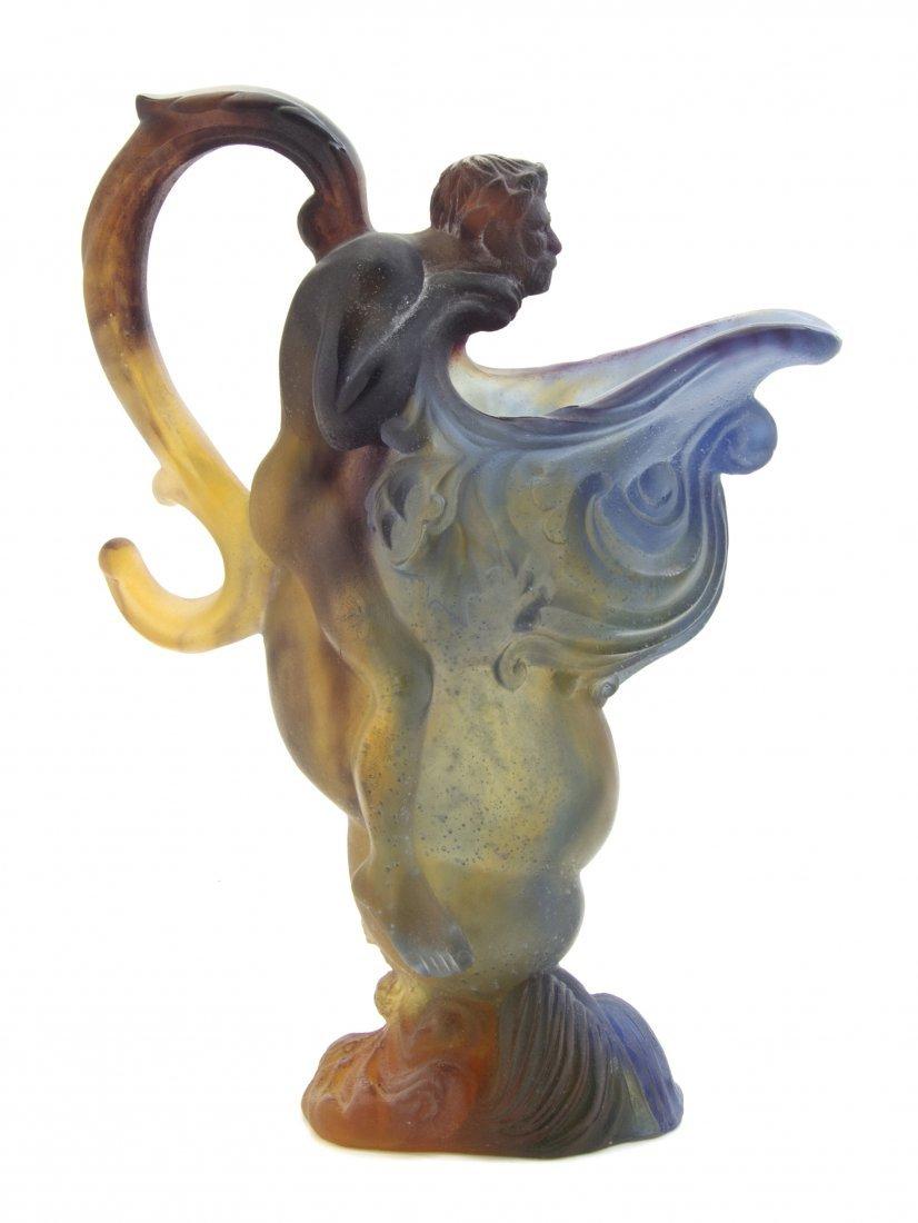 1379: A Daum Pate de Verre Glass Ewer, Height 12 inches