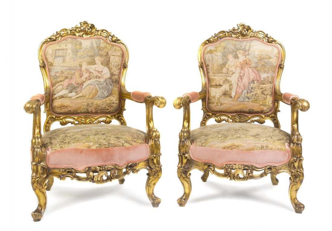 1: A Pair of Louis XV Style Giltwood Fauteuils, Height