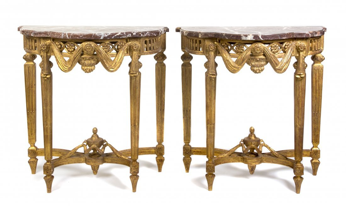 4: A Pair of Louis XVI Style Gilt Console Tables, Heigh