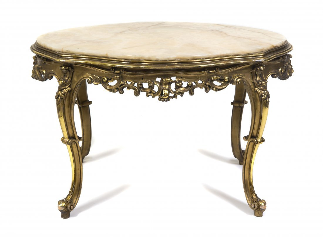 5: A Louis XV Style Giltwood Low Table, Height 21 1/4 x