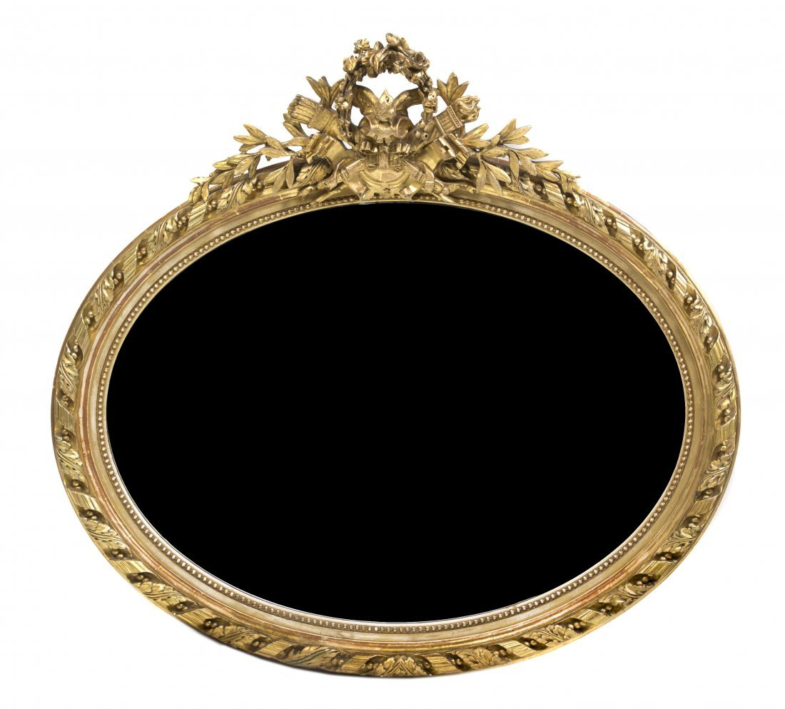 10: A Neoclassical Giltwood Mirror, Height 43 1/2 x wid