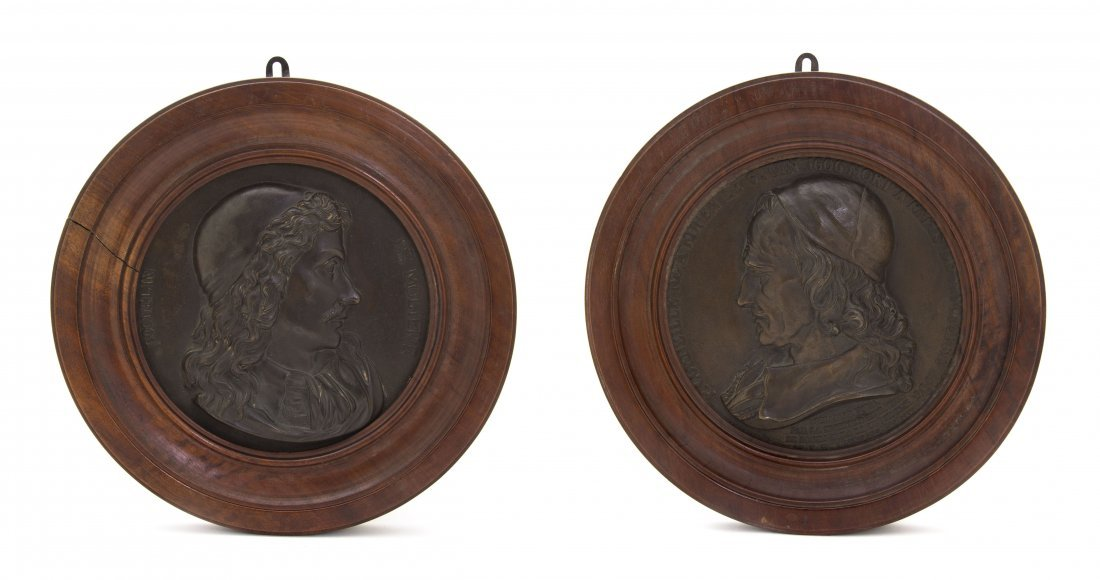 16: A Pair of French Relief Plaques, Diameter of each 7