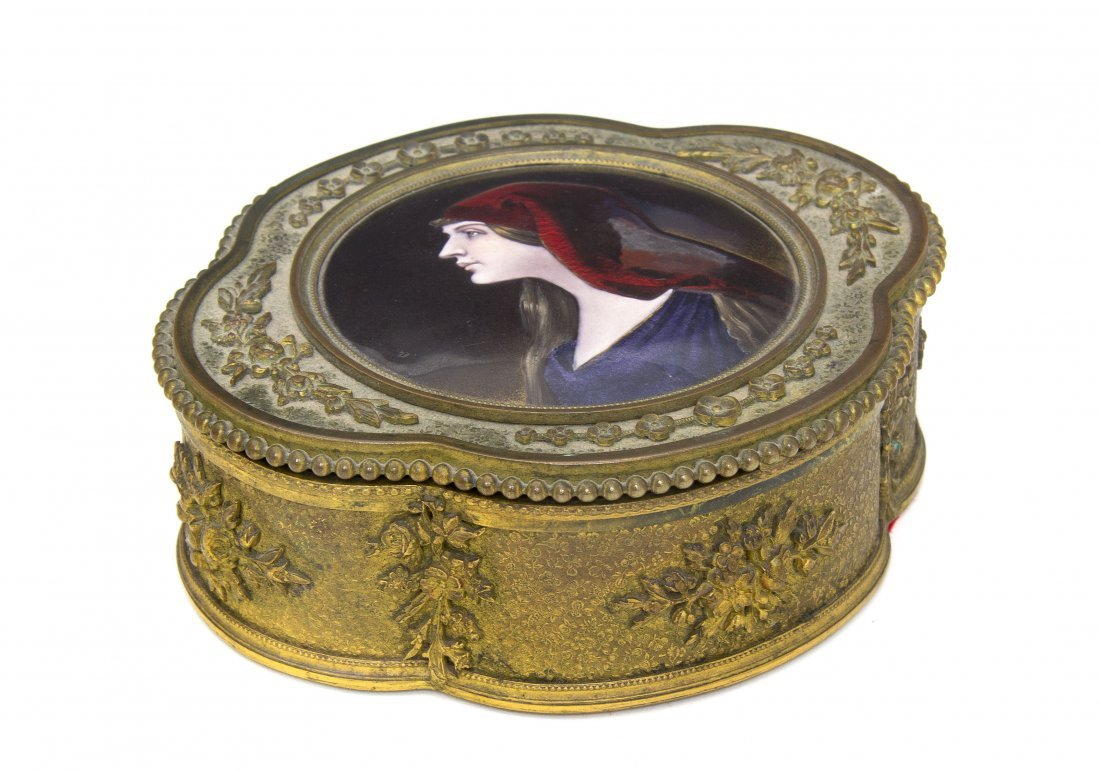 17: A French Enameled Copper Inset Gilt Metal Box, Widt