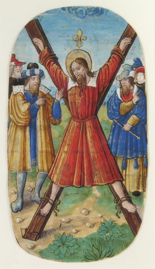 3: (ILLUMINATED MINIATURE) SAINT ANDREW, 15th century