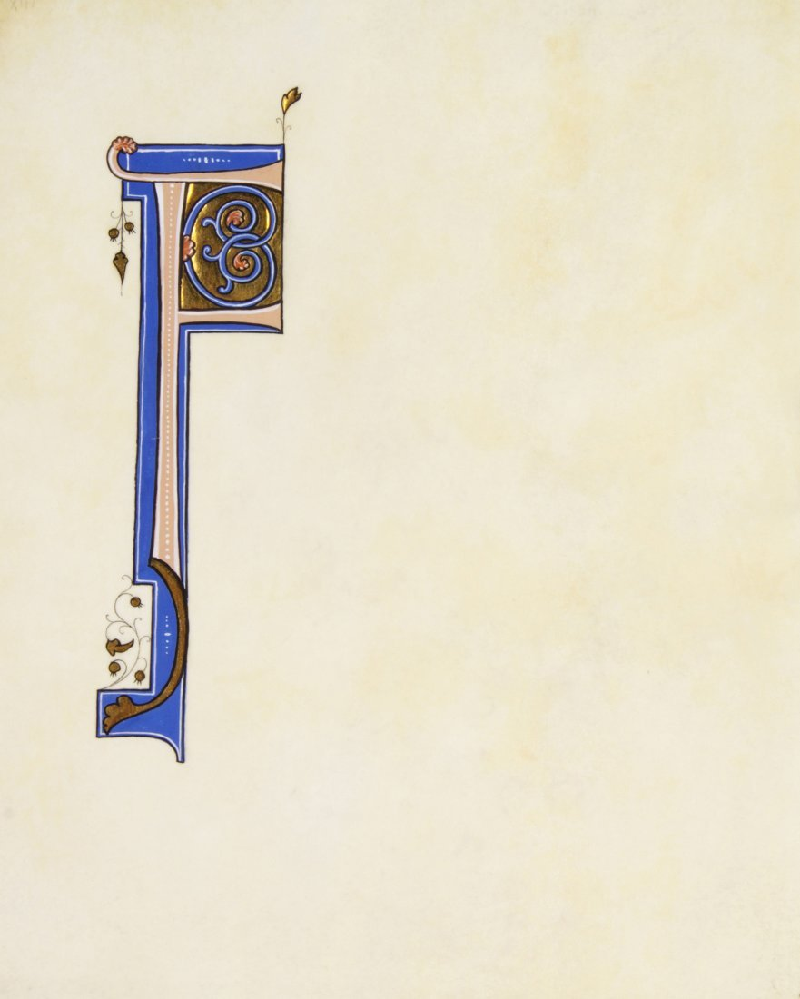 """15: (ILLUMINATED MANUSCRIPT, INITIAL) """"F,"""" 19th century"""