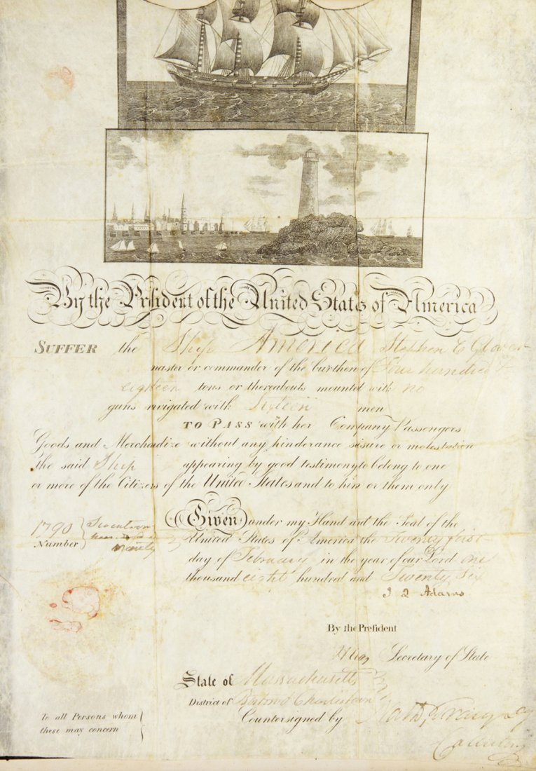 229: ADAMS, JOHN Q. Document signed as President, 1826.