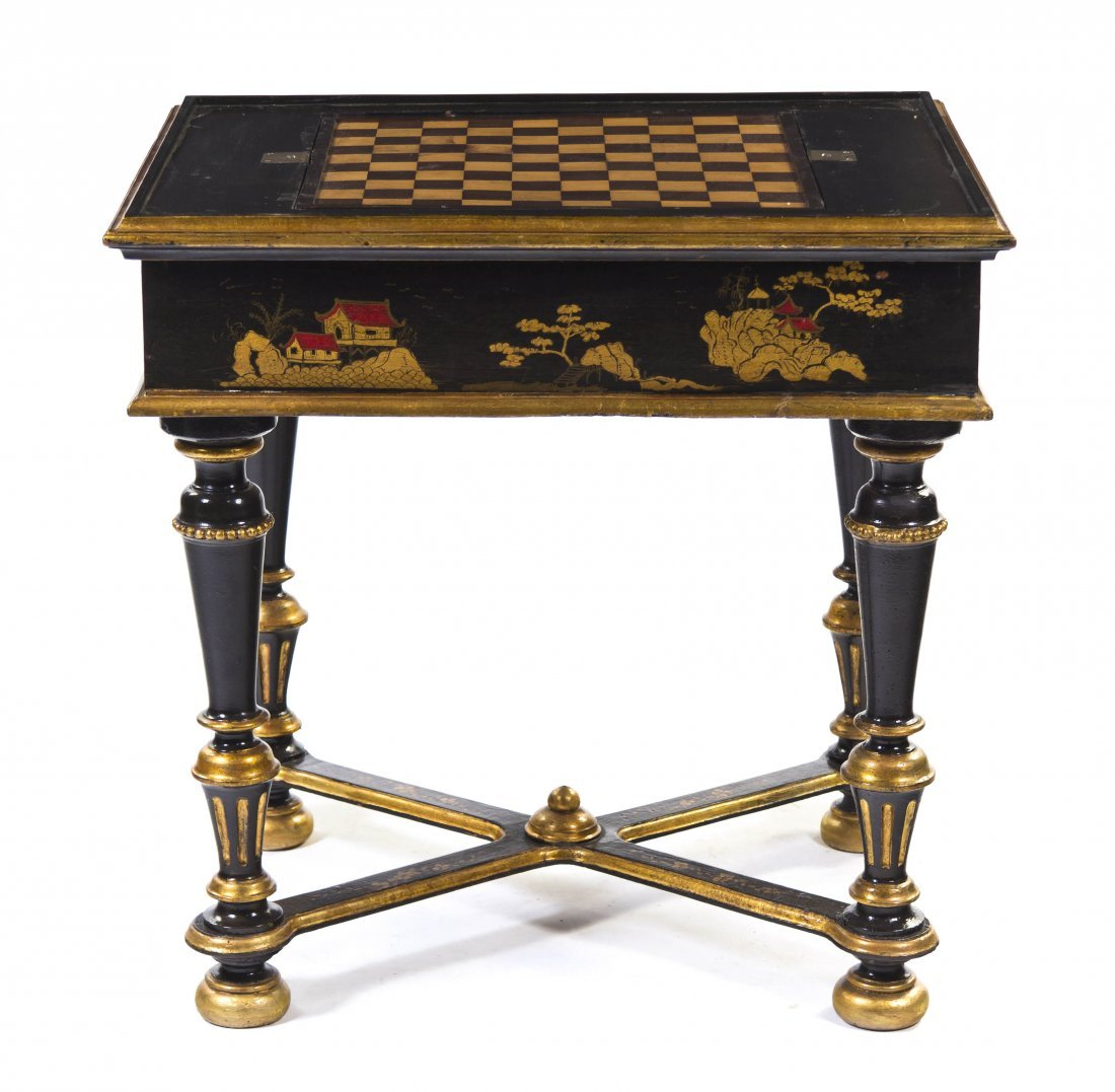 2003: A Painted and Parcel Gilt Games Table, Height 31