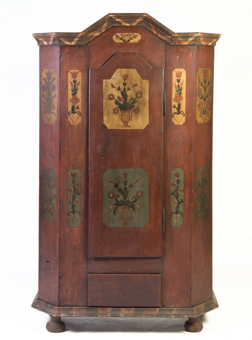 2005: A Swedish Folk Art Painted Armoire, Height 77 x w