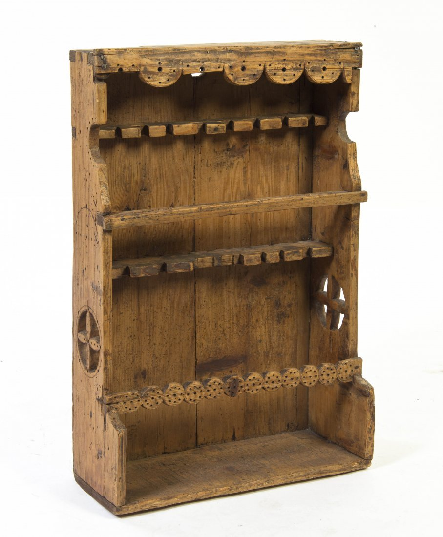 2007: A Provincial Carved Pine Spoon Rack, Height 30 x
