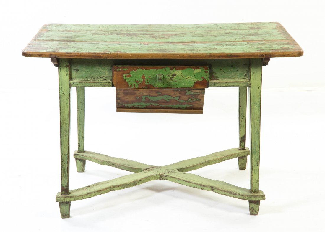2008: A Provincial Painted Pine Work Table, Height 39 1