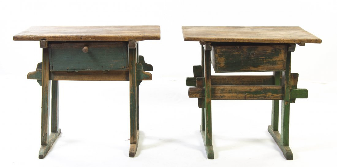 2009: A Pair of Provincial Painted Butcher Tables, Heig