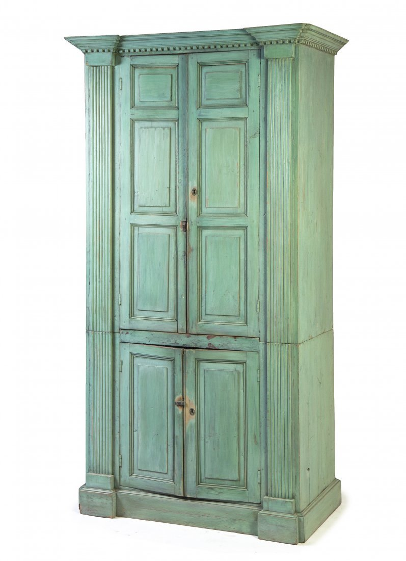 2014: A Provincial Painted Pine Armoire, Height 88 1/2