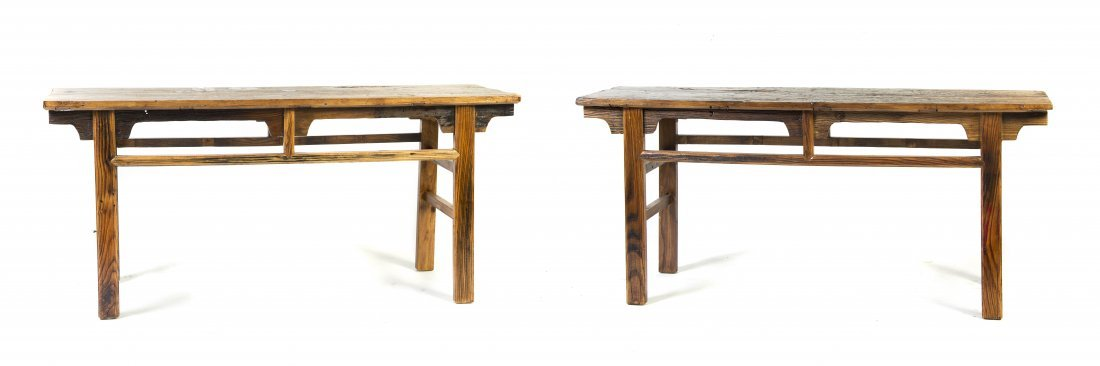 2020: A Pair of Continental Oak Dining Tables, Height 3