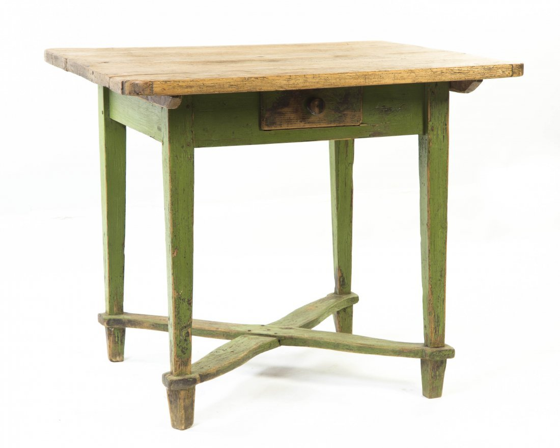 2025: A Provincial Pine Painted Work Table, Height 32 3