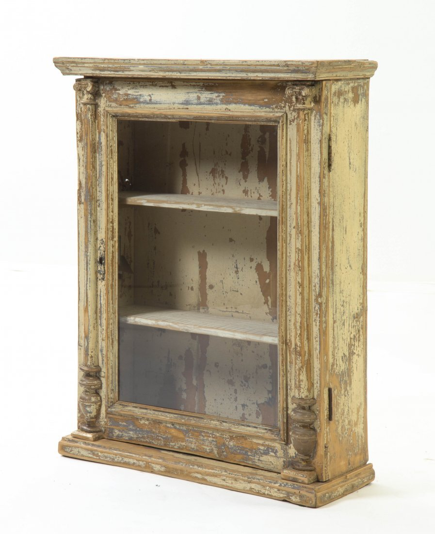 2028: A Provincial Painted Pine Vitrine, Height 32 1/2