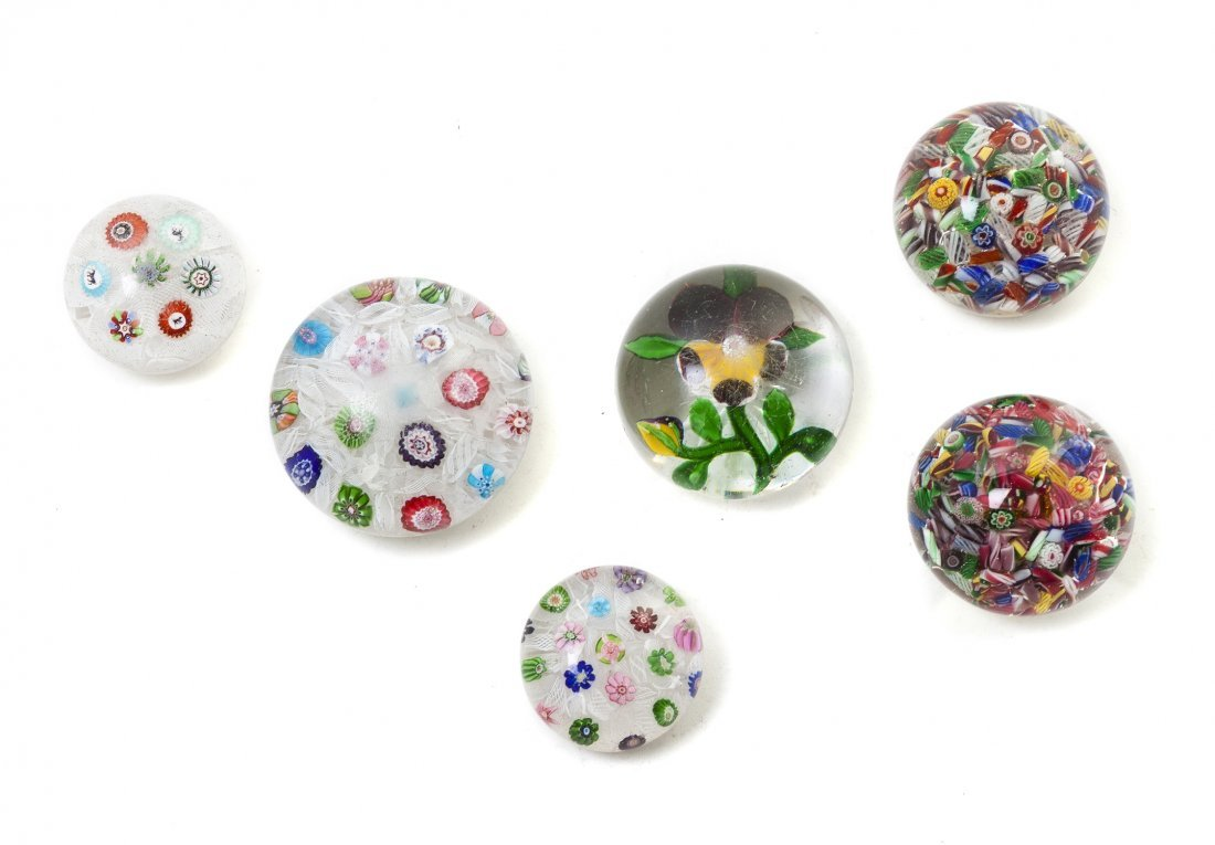 2299: Six Glass Paperweights, Diameter of largest 3 inc