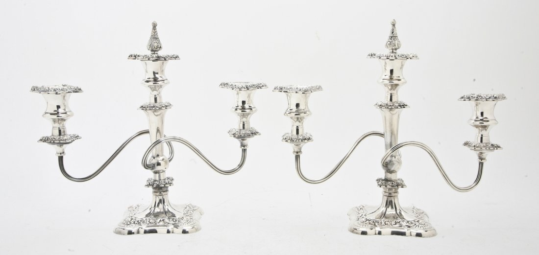 2656: A Pair of Silverplate Two-Light Candelabra, Heigh