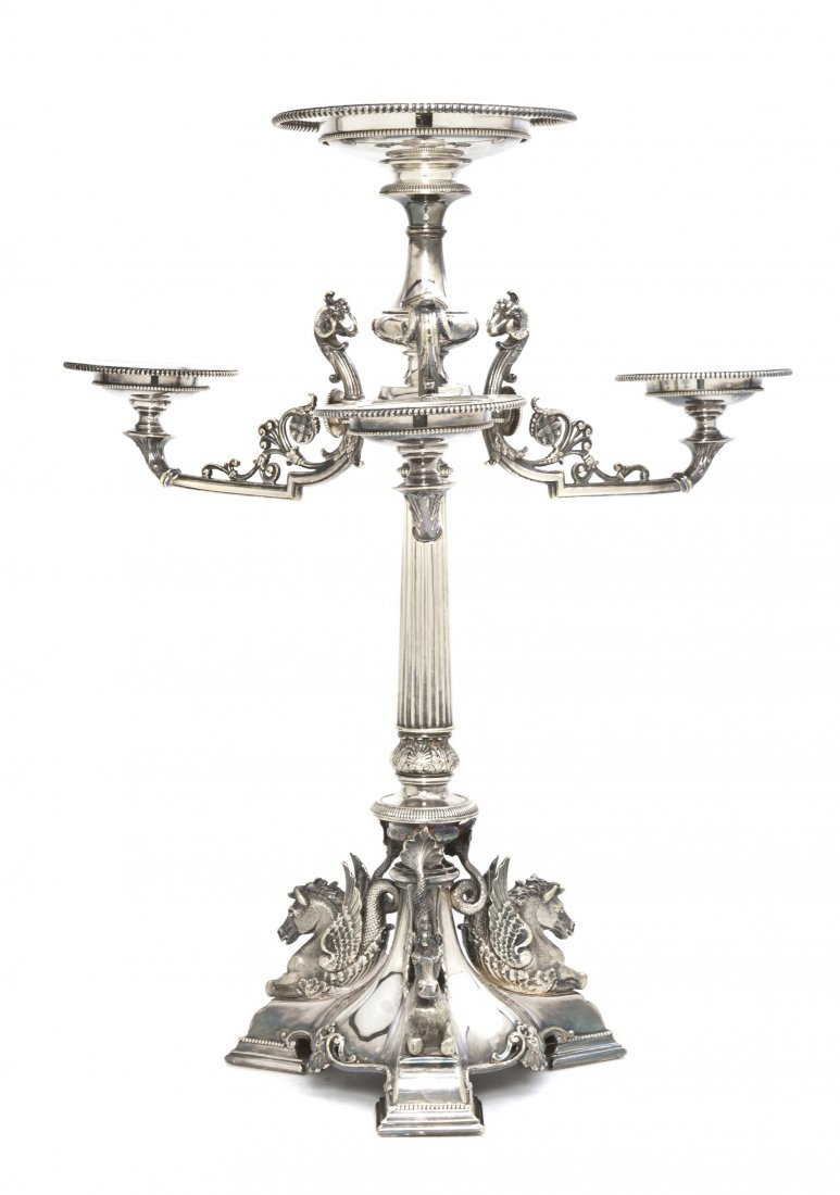 2661: An English Silverplate Epergne, Height 19 inches.