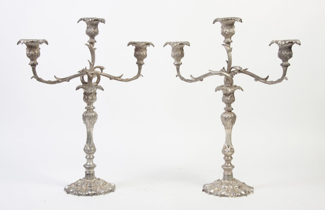 2663: A Pair of Silverplate Three-Light Candelabra, Hei