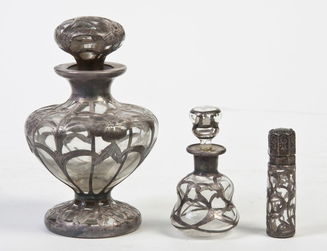 2666: Three Sterling Silver Mounted Scent Bottles, Heig