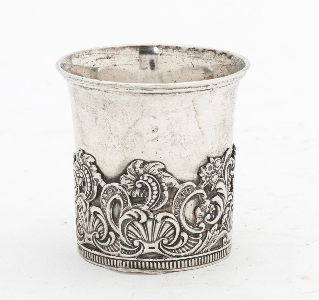 2673: A Russian Silver Beaker, Height 2 1/4 inches.