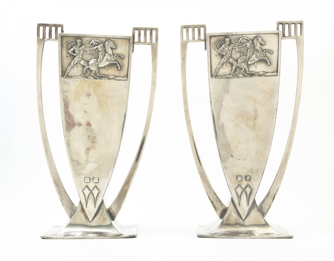 2677: A Pair of German Silverplate Vases, WMF, Height 1