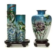 2968: Two Japanese Cloisonne Vases, Height of tallest 7