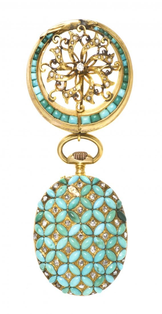 1: An Antique 18 Karat Yellow Gold, Turquoise and Diamo