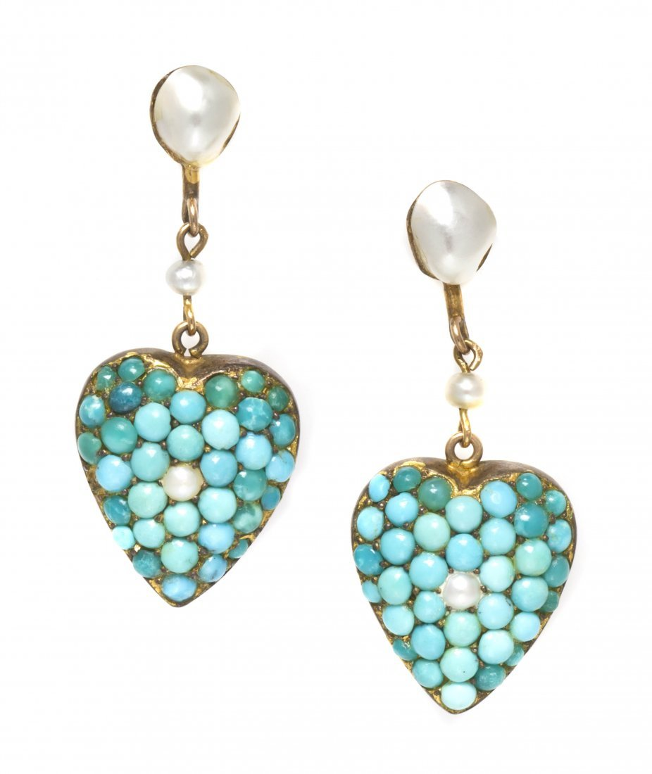 2: A Pair of Antique Yellow Gold, Turquoise and Pearl D