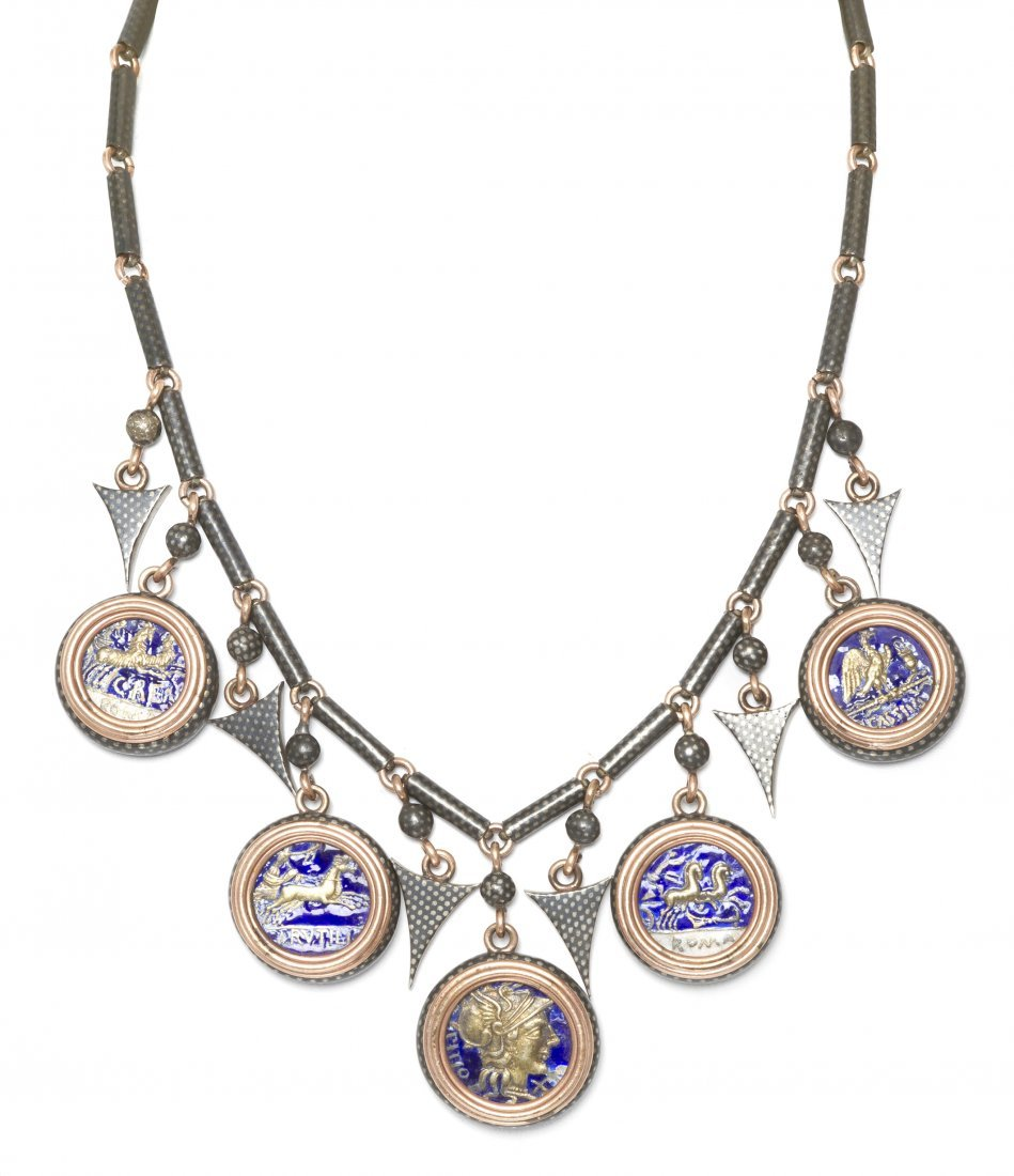 4: A Rose Gold, Silver, Enamel and Roman Coin Necklace,