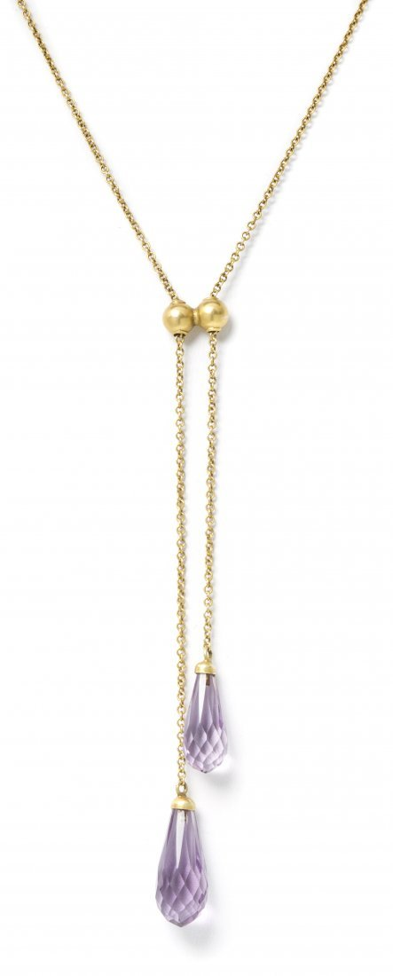 8: A 14 Karat Yellow Gold and Amethyst Lavaliere Neckla