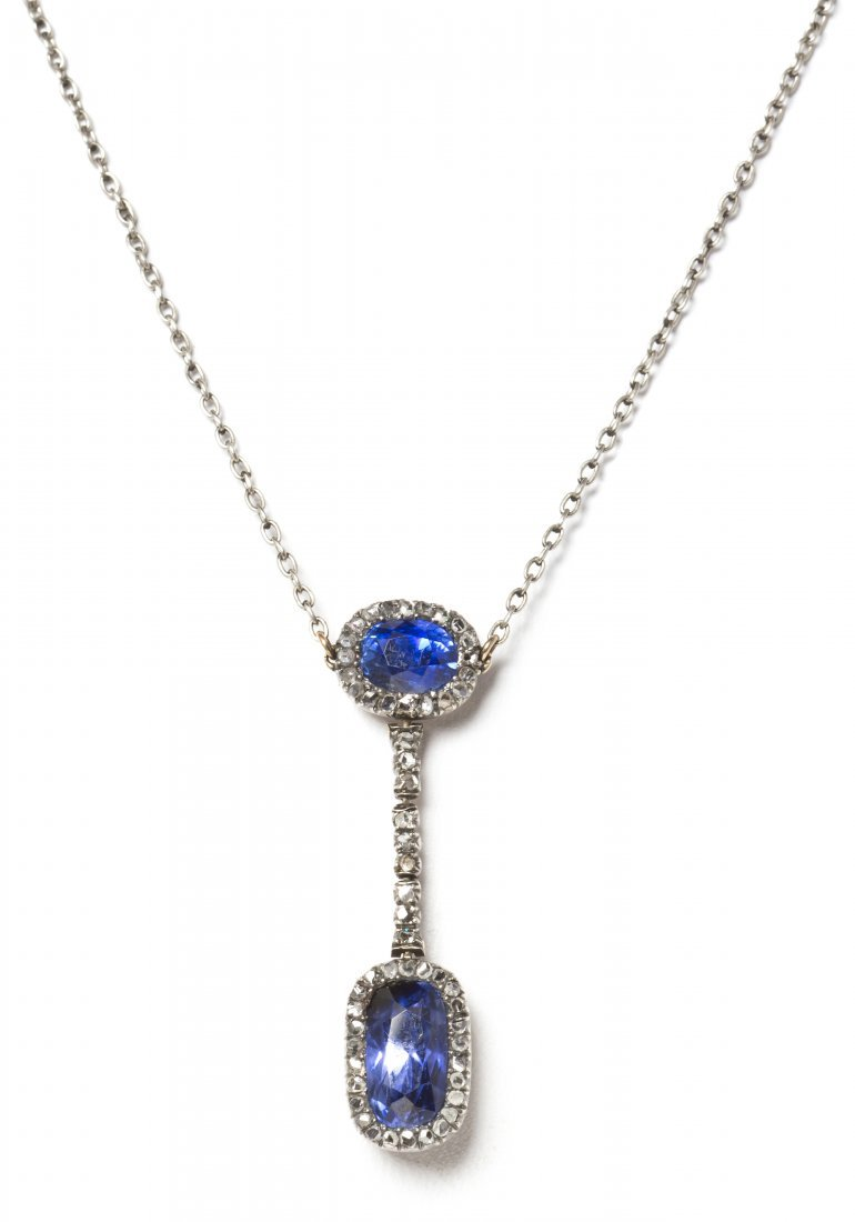 9: A Victorian Silver Topped Gold, Sapphire and Diamond