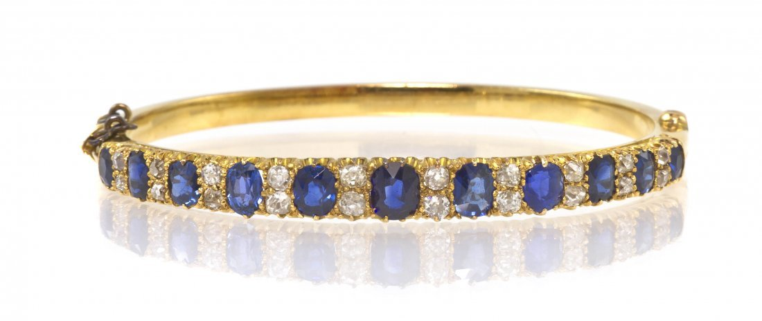 11: A Victorian Yellow Gold, Sapphire and Diamond Hinge