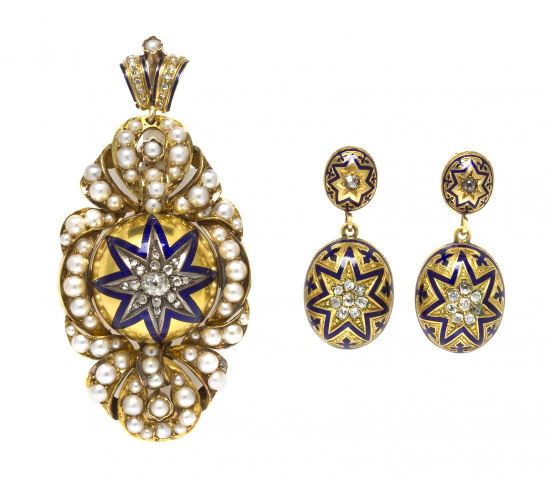 13: A Victorian Yellow Gold, Pearl, Diamond and Enamel