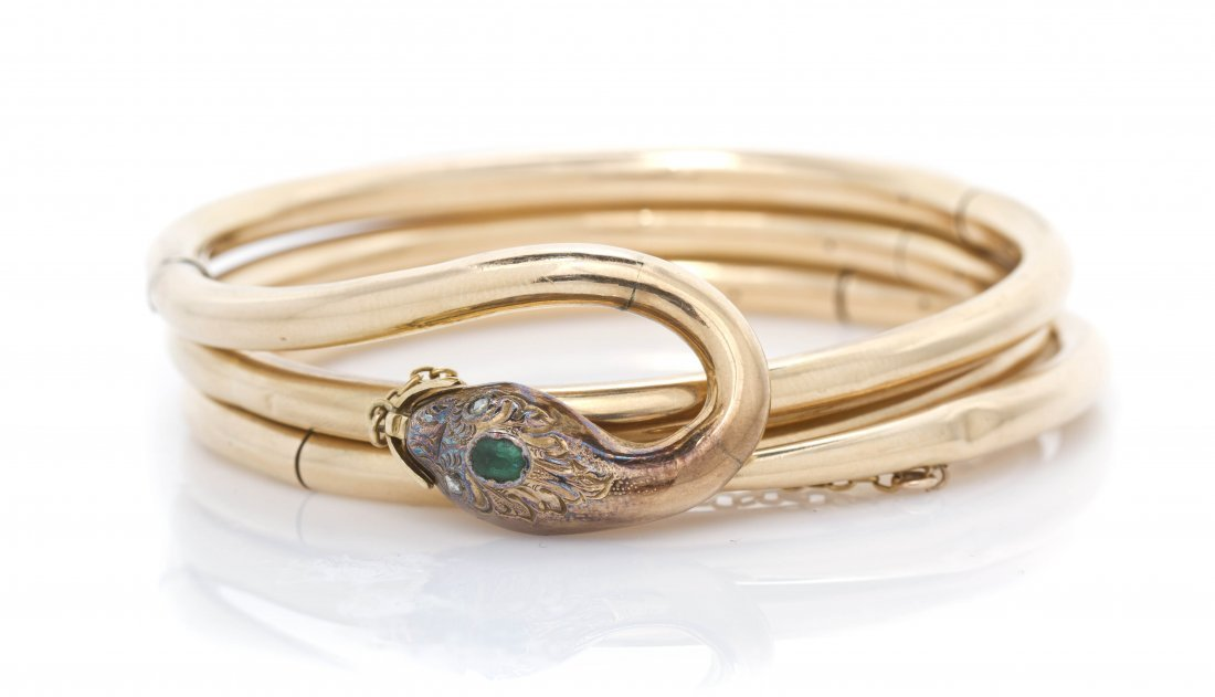 17: A Victorian Yellow Gold, Emerald, and Diamond Serpe