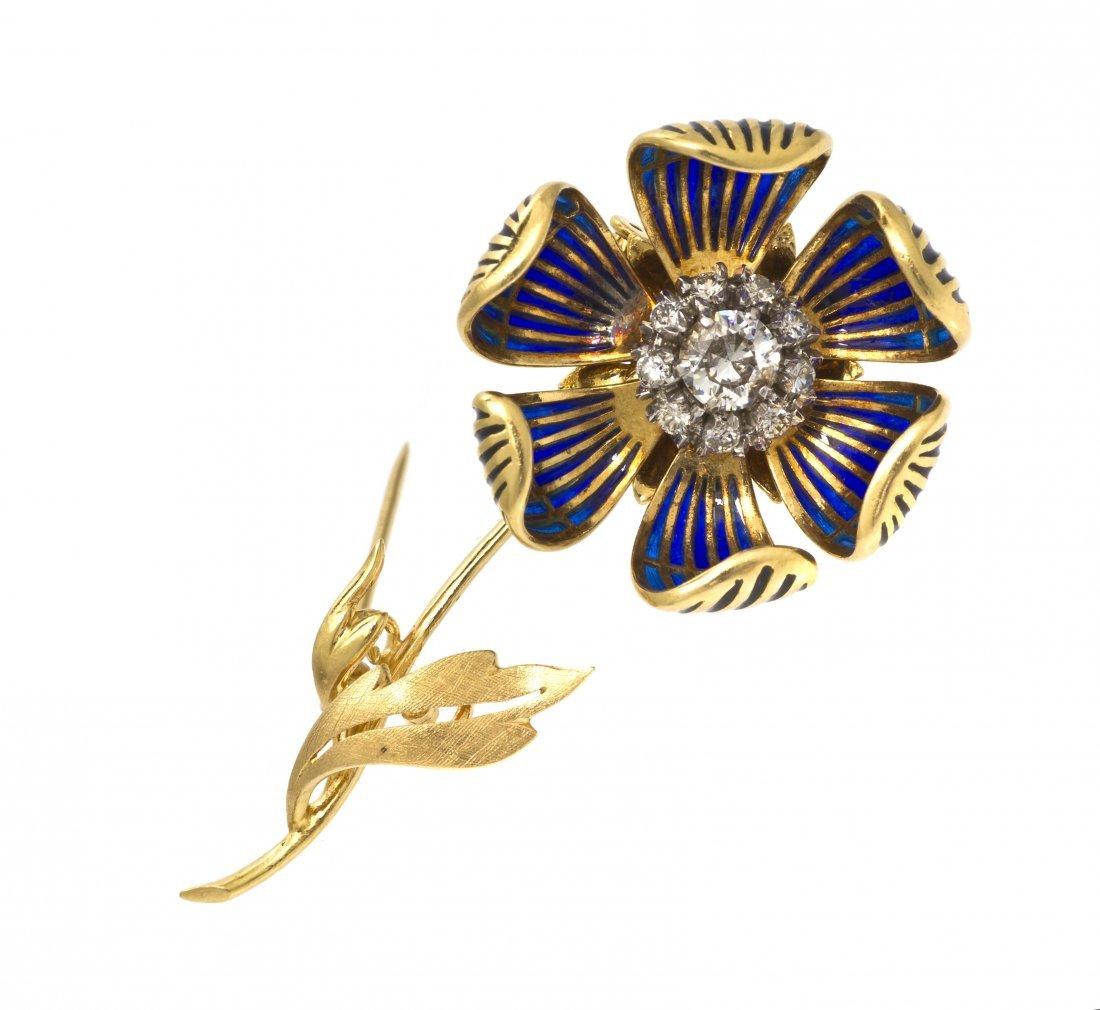 128: A Vintage 18 Karat Gold and Plique-a-Jour Enamel A