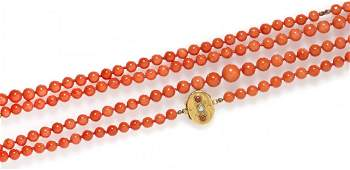 171 A Single Strand Graduated Coral Bead Necklace