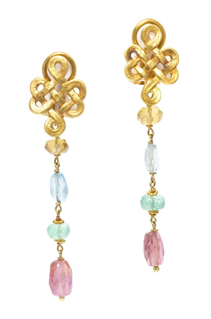 222: A Pair of 18 Karat Yellow Gold and Multi Gem Earcl