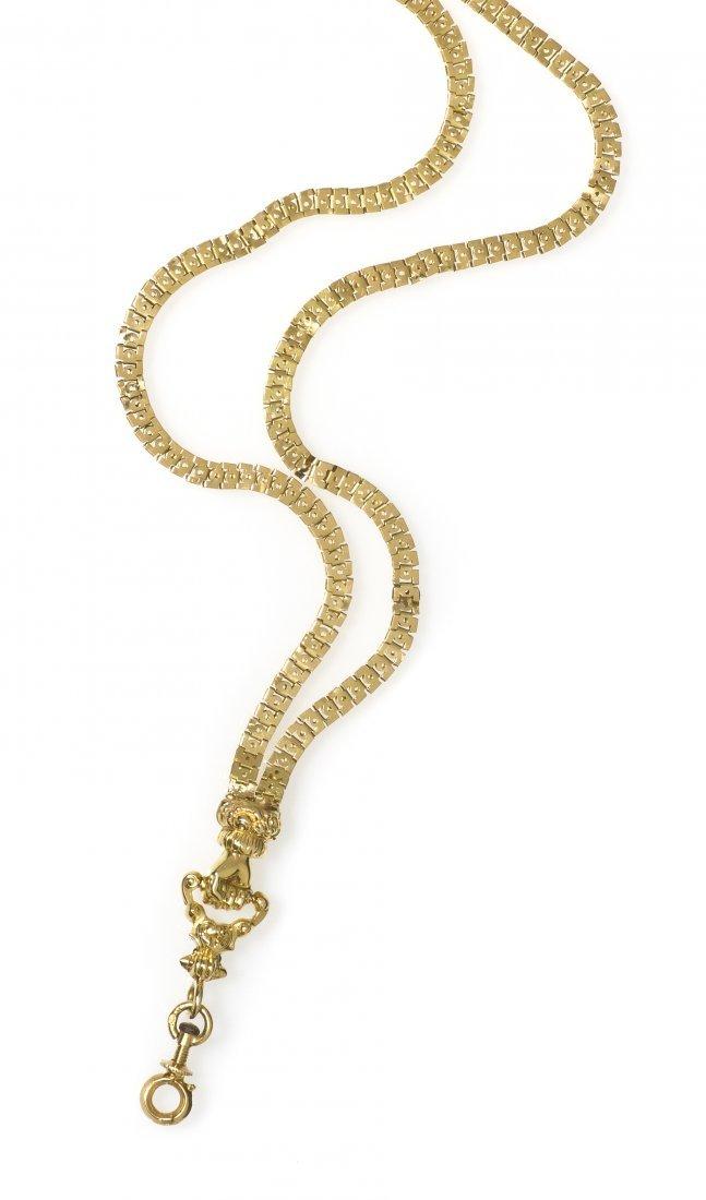 381: An 18 Karat Yellow Gold Longchain, French, 14.30 d