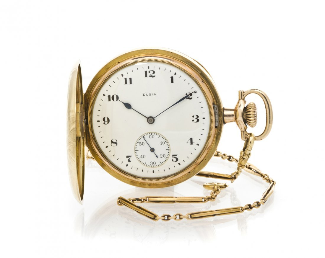 383: A Yellow Gold Filled Hunter Case Pocket Watch and