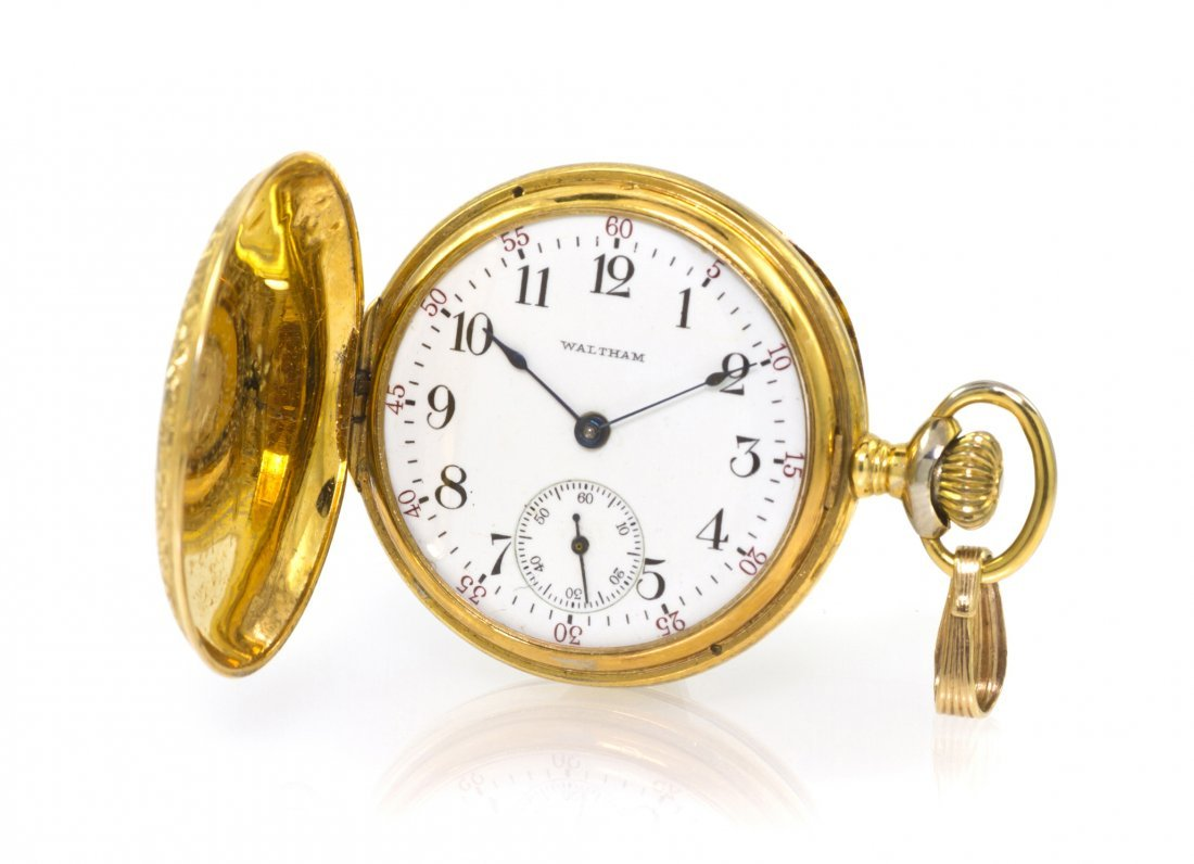 384: A 14 Karat Yellow Gold Hunter Case Pocket Watch, W