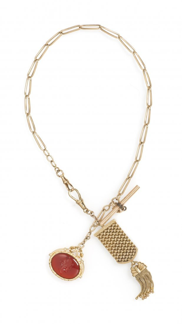 387: A 14 Karat Yellow Gold Watch Chain and Carnelian I