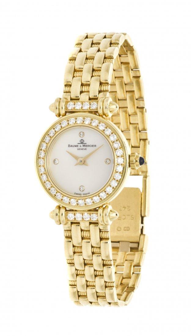 394: An 18 Karat Yellow Gold and Diamond Wristwatch, Ba