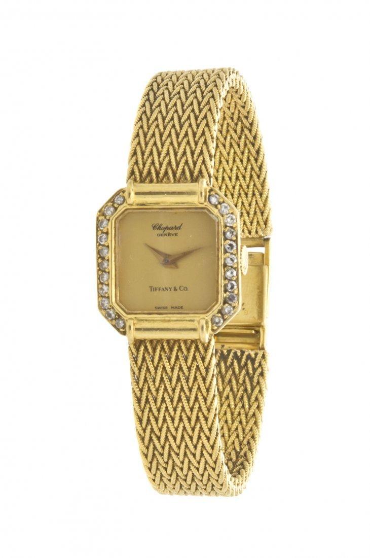 395: An 18 Karat Yellow Gold and Diamond Watch, Chopard